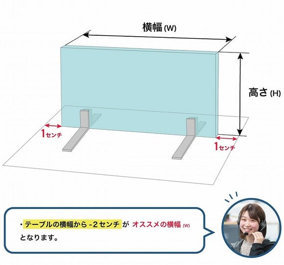 飛沫ガード「カウンター型」のサイズの決め方