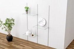 ガラス棚板:ブラケット&支柱セット